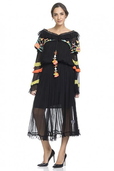 Long dress with chest and sleeves embroidery. Elastic waist. Separate lining Black 74319