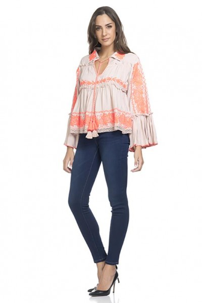 Embroidery Blouse with Flounce Sleeve Orange 74320