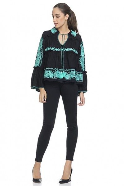 Embroidery Blouse with Flounce Sleeve Black 74321