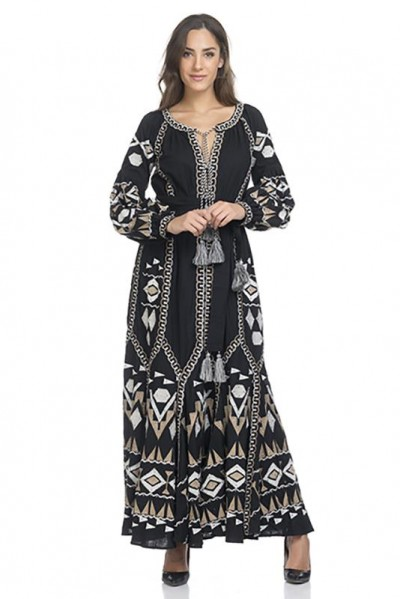 Midi Full embroidery dress  with Belt apart Black 74323