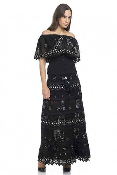 Long Skirt With Embroidery and Beads Black 74333