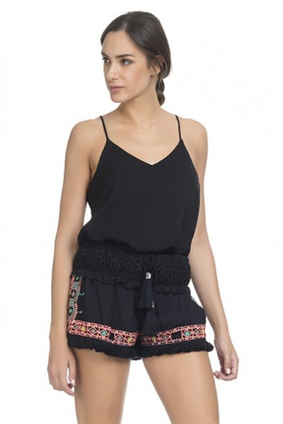 Embroidery Short Black