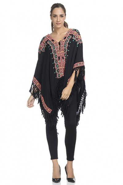 Embroidey Poncho with fringes Black 74335