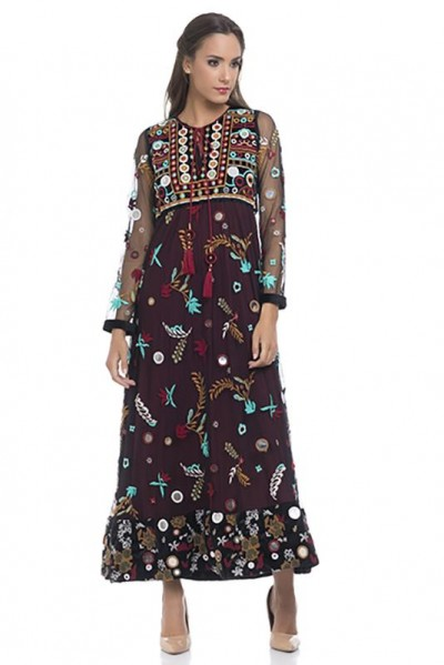 Long net full embroidery dress with linning Black