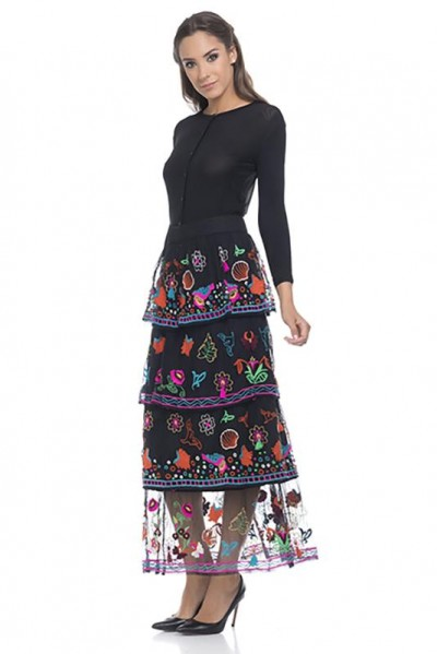 Flounce skirt with embroidery Black