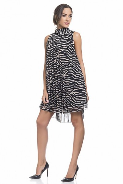 Animal print crinkle dress Black