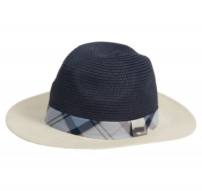 Barbour Carron Fedora - Cream/Navy/Fade Blue